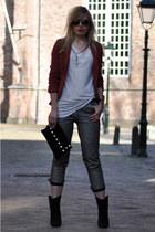 crimson burgundy Vero Moda blazer - black Mango boots - black Frenchonista bag