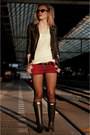 Black-hunter-boots-black-h-m-jacket-brick-red-coolcat-shorts