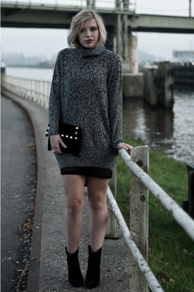 heather gray lindex jumper - black Mango boots - black fishnet mesh asos dress