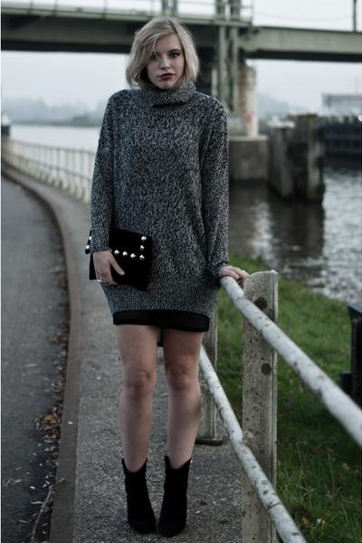 heather gray lindex jumper - black Mango boots - black fishnet mesh asos dress