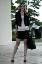 black H&M skirt - black Oasis jacket - black Zara bag - black Ray Ban sunglasses