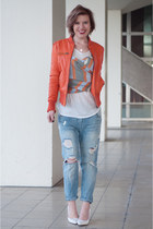 light blue Zara jeans - carrot orange BlueGold jacket - burnt orange H&M scarf