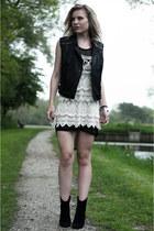 black asos dress - cream Chicwish dress - black Mango boots