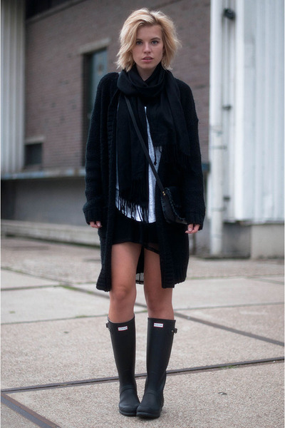 black Hunter boots - black mesh fishnet asos dress - black Nelly scarf