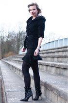 black Zara skirt - black sam edelman boots - black Fashaves jacket