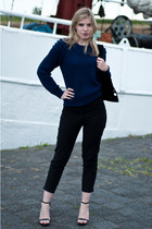 black Zara sandals - navy Nelly Trend sweater - black Frenchonista bag
