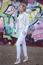 white asos jeans - white asos jacket - off white Mango t-shirt