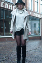 black H&M boots - beige Bandolera coat - cream H&M sweater