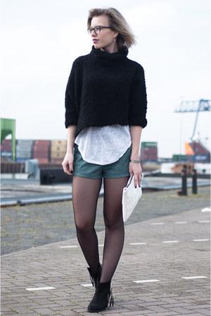 black Zara sweater - black Sacha boots - white Zara bag