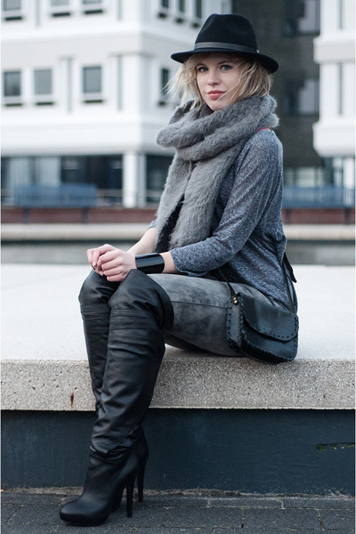 heather gray asos scarf - black And Other Stories boots