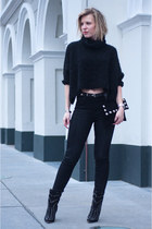 black sam edelman boots - black weekday jeans - black Zara sweater