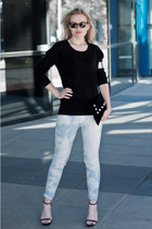 light blue Mango jeans - black oversized basic Vero Moda sweater