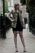 black asos dress - army green Zara Trf jacket - black Zara bag