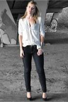blue Primark jeans - white zaatxchki blouse - black Sacha heels