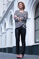 black Loavies sweater - black skinny leather Gipsy pants