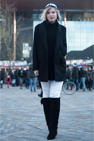 black H&M New Icons boots - black Drykorn coat - white Mango jeans