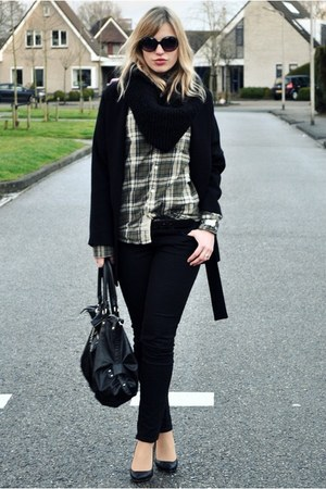 green Jack&Jones blouse - black big oversized Zara coat