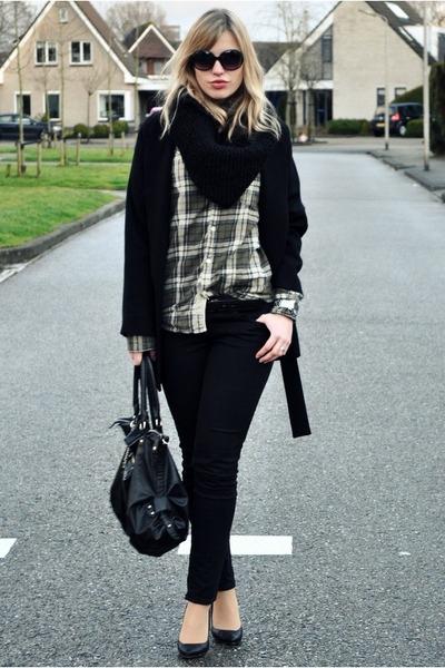 green Jack&Jones blouse - black big oversized Zara coat