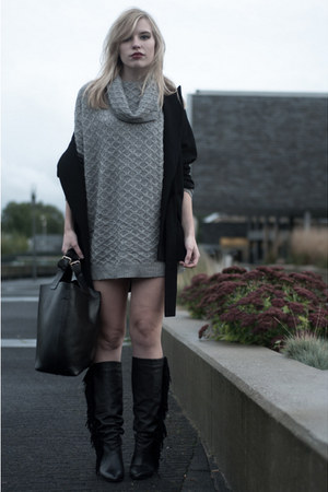 heather gray H&M dress - black Sacha boots - black oversized big Zara coat