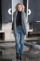 black buckle cut out asos boots - blue asos jeans