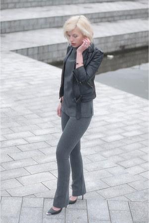 black asos jacket - charcoal gray Topshop pants - charcoal gray Topshop top