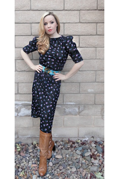 floral dress with riding boots