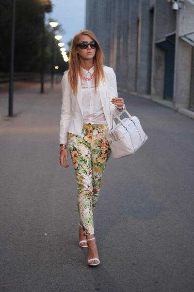 white Bershka shirt - off white Bershka jacket - ivory Mango bag
