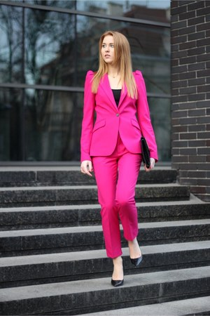 hot pink Zara jacket - black Bershka bag - hot pink Zara panties