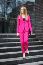 hot pink Zara jacket - black Bershka bag - hot pink Zara panties