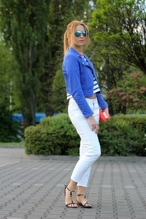 white Zara jeans - blue H&M jacket - carrot orange pull&bear bag
