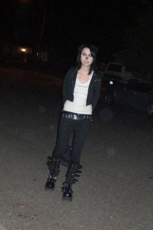 black jacket - white top - black tripp pants - black belt - black boots