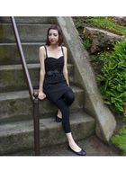 black Divided by H&M dress - black No Boundaries leggings - black vintage belt -