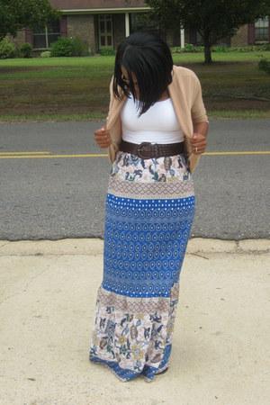 camel rue21 cardigan - blue diy unknown brand skirt - white tank MaxRave top
