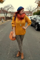 gold necklace - blue hat - mustard sweater - bronze bag