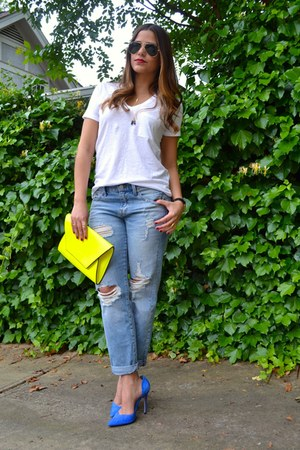 boyfriend madewell jeans - kimono Red Lips- iD jacket - neon Zara bag