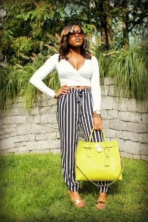 gold Zara sandals - chartreuse Michael Kors bag - white Motel Rocks top