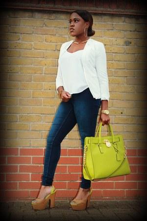 white Forever 21 blazer - navy H&M jeans - chartreuse Michael Kors bag