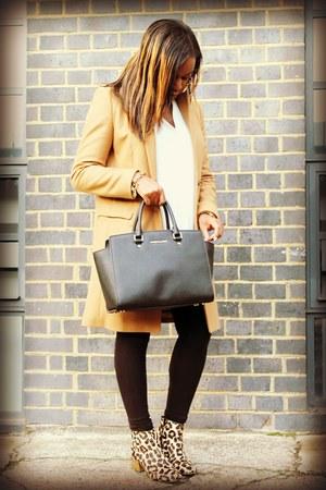 dune boots - camel Zara coat - black H&M leggings - black Michael Kors bag