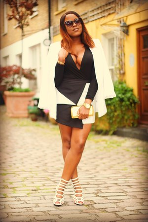 black asos skirt - white Forever 21 blazer - black Pretty Little Thing bodysuit