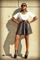 H&M skirt - london trash heels - missguided top - gogo philip necklace