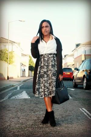black Zara boots - black Boohoo jacket - white Forever 21 shirt