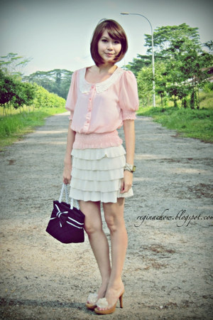 puffed sleeve from Korea top - tiered skirt Forever21 skirt - from Korea heels