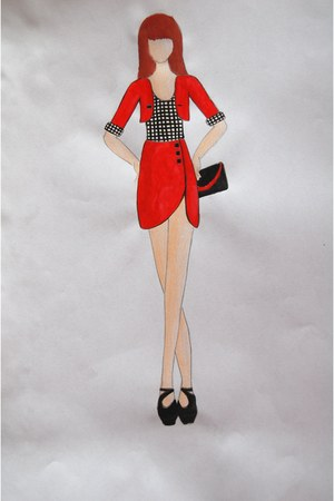 black and red bag - red blazer - red skirt - white and black top - black heels