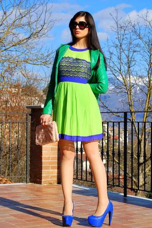 green jacket - chartreuse BaBassu dress - light pink bag - blue pumps