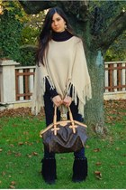black Fringe boots - Ralph Lauren jeans - Louis Vuitton bag - beige vintage cape