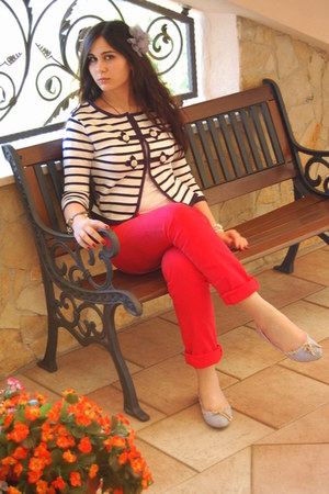 red pants - navy romwe blazer - white flats