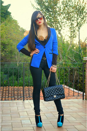 blue Aldo boots - blue PERSUNMALL blazer - black Chanel bag