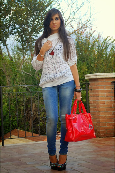 red emporio armani bag - white PERSUNMALL ring - black Christian Louboutin heels