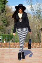 black Aldo boots - white Gofavor leggings - black denny rose blazer