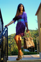 light purple vintage dress - camel cinti heels - aquamarine vintage belt